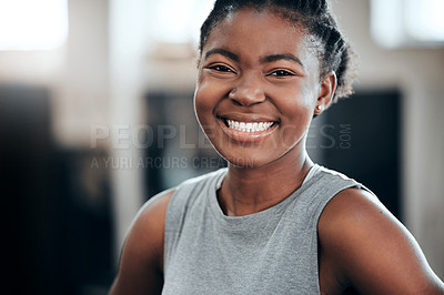 Buy stock photo Portrait of a young beautiful woman taking a break from her workout in the gym