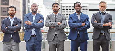 Buy stock photo Portrait of businessmen with arms folded looking ready and confident outside