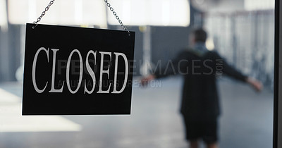 Buy stock photo Shot of a closed sign on the door of the gym